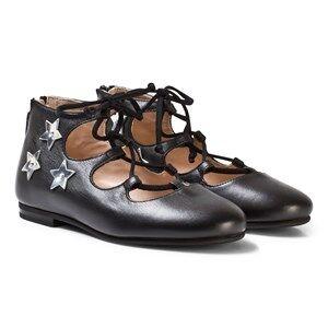 Il Gufo Girls Shoes Black Black Star Applique Lace Up Pumps