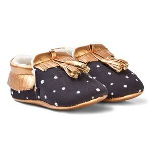 Catimini Boys Shoes Black Black and Rose Gold Crib Shoes