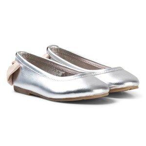 Carrément Beau Girls Shoes Silver Silver Bow Back Ballet Pumps