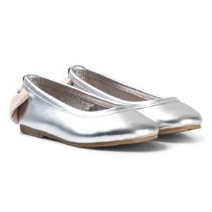 Carrément Beau Girls Shoes Silver Silver Bow Back Ballet Pumps