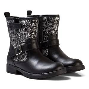 Geox Girls Boots Black Black Jr Sofia Leather and Studded Boots