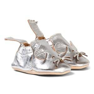 Easy Peasy Boys Shoes Silver Silver Metallic Mouse Blumoo Crib Shoes