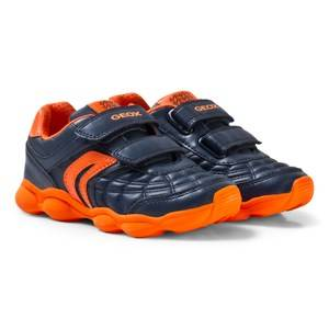 Geox Boys Sneakers Orange Navy and Orange Junior Munfrey Velcro Trainers