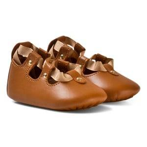 Image of Chloé Girls Shoes Brown Tan Lace Up Crib Shoes