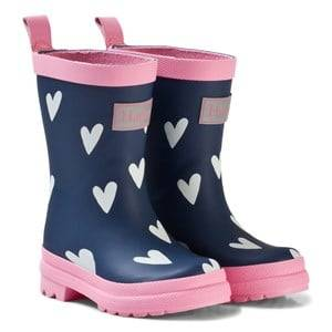Hatley Girls Boots Navy Navy Hearts Classic Rain Boots