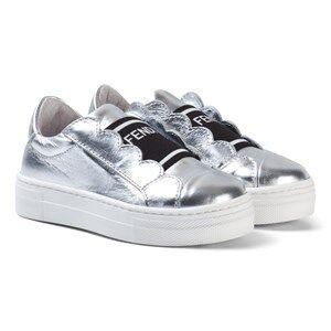 Fendi Unisex Sneakers Silver Silver Leather Branded Sneakers