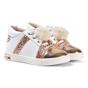 Michael Kors Girls Sneakers Pink Rose Gold Pom Pom Zia Olly Raz-T Leather Trainers