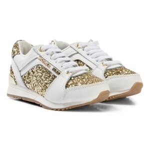 Michael Kors Girls Sneakers Gold White and Gold Glitter Zia Allie Cali-T Laced Trainers