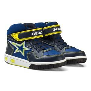 Image of Geox Boys Sneakers Navy Navy and Lime Junior Gregg Light Up Hi Top Trainers