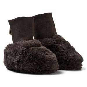 Mini Rodini Unisex Boots Brown Faux Fur Baby Booties Brown