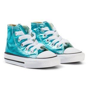 Converse Girls Sneakers Green Green Metallic Chuck Taylor Hi Tops Sneakers
