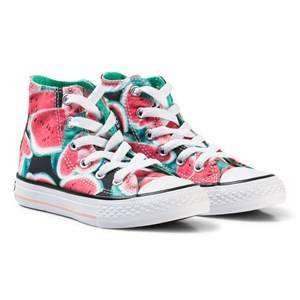 Image of Converse Girls Sneakers Pink Pink Watermelon Print Chuck Taylor Hi Tops Sneakers