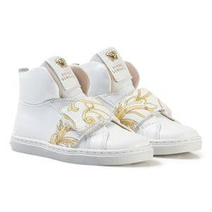 Image of Young Versace Unisex Sneakers White White and Gold Baroque Print Medusa High Top Trainers