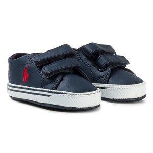 Ralph Lauren Boys Sneakers Navy Navy Leather Logo Slater EZ Velcro Crib Shoes