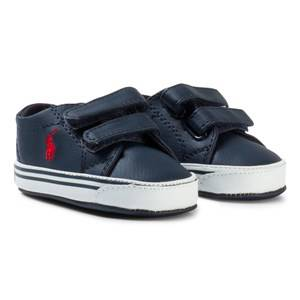 Ralph Lauren Boys Sneakers Navy Navy Leather Logo Slater EZ Velcro Crib Shoes