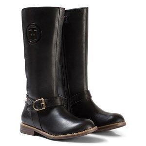 Tommy Hilfiger Girls Boots Black Black Aubrey Leather Tall Boots