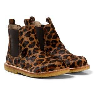 Angulus Girls Boots Brown Dark Leopard Print Pony Hair Chelsea Boots