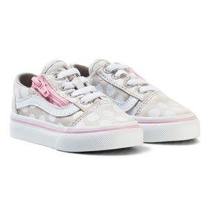 Vans Girls Sneakers Beige Polka Dot Old Skool Zip Shoes Wind Chime