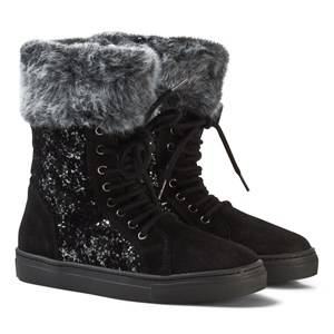Stuart Weitzman Girls Boots Black Black Suede Glitter Zip Boots