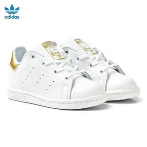 adidas Originals Unisex Sneakers White White and Gold Infants Stan Smith Trainers