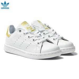 adidas Originals Unisex Sneakers White Kids Stan Smith Trainers White and Gold