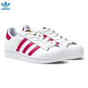 adidas Originals Girls Sneakers White White and Pink Junior Superstar Trainers