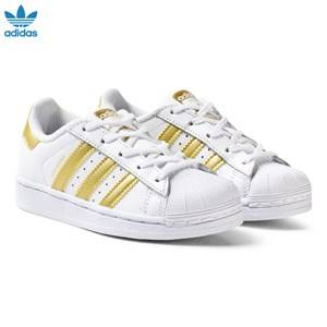 adidas Originals Unisex Sneakers White White and Gold Superstar Kids Trainers