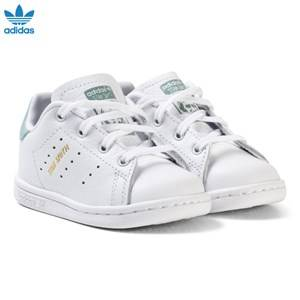 adidas Originals Girls Sneakers White White and Mint Green Infants Stan Smith Trainers