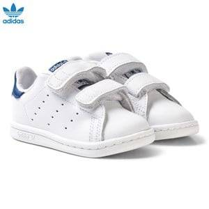 adidas Originals Unisex Sneakers White White and Blue Stan Smith Infant Trainers