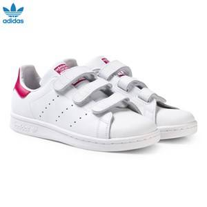 adidas Originals Girls Sneakers White White and Pink Stan Smith Junior Trainers