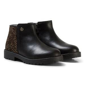 Stuart Weitzman Girls Boots Black Black Leather Leopard Guepardo Ankle Boots