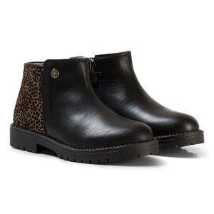 Stuart Weitzman Girls Boots Black Black Leather Leopard Guepardo Ankle Boots