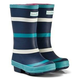 Muddy Puddles Unisex Boots Navy Navy with Green and White Stripe Puddlestomper Wellies