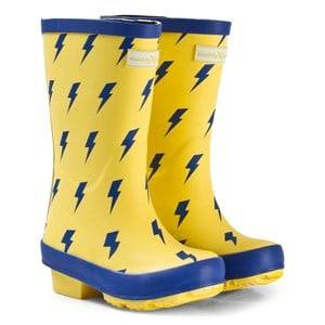 Muddy Puddles Unisex Boots Yellow Yellow with Blue Lightning Print Puddlestomper Wellies