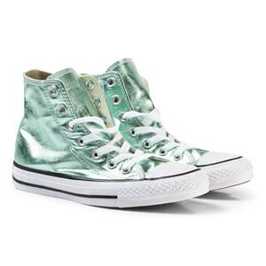 Image of Converse Girls Sneakers Green Metallic Light Green Chuck Taylor All Star Hi Top Trainers
