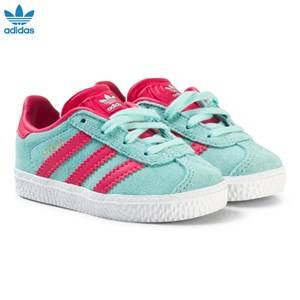 adidas Originals Girls Sneakers Blue Aqua and Pink Infants Gazelle Trainers