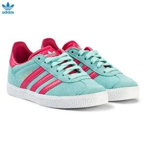 adidas Originals Girls Sneakers Blue Aqua and Pink Kids Gazelle Trainers