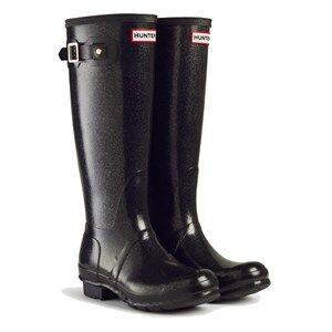 Hunter Original Kids Glitter Rain Boots Black Wellingtons