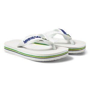 Image of Havaianas White Brazil Flip Flops Lasten kengt 41/42 (UK 6/7)