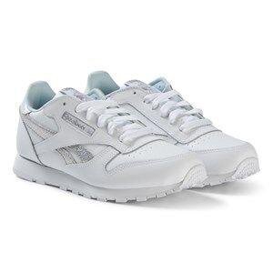 Reebok White and Silver Classic Sneakers Lasten kengt 24 (UK 7)
