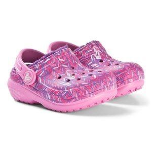 Crocs Classic Lined Graphic Clog K Party Pink/Amethyst Lasten kengt C4 (EU 19/20)