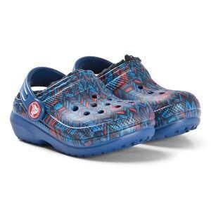 Crocs Classic Lined Graphic Clog K Blue Jean/Navy Lasten kengt C6 (EU 22/23)