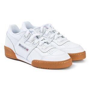 Reebok White and Royal-Gum Workout Plus Junior Sneakers Lasten kengt 36 (UK 4)