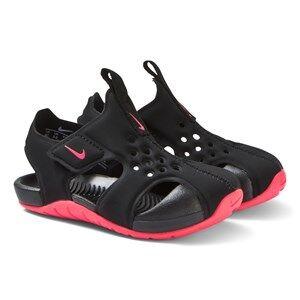NIKE Sunray Adjust 2 Sandals Black and Racer Pink Lasten kengt 25 (UK 7.5)