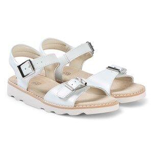 Clarks White Leather Crown Bloom Sandals Lasten kengt 34 (UK 2)