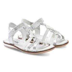 Nol Strassy Leather Sandals Silver/White Lasten kengt 25 (UK 8)