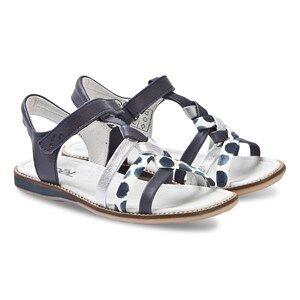 Nol Strassy Leather Sandals Navy/Silver Spot Lasten kengt 30 (UK 12)