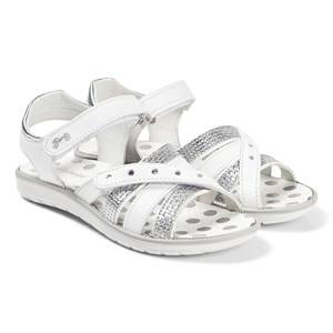 Primigi White Silver Dotty Cross Front Sandals Lasten kengt 33 (UK 1)