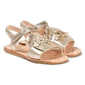 Easy Peasy Gold Metallic Frill Like Leather Sandals Lasten kengt 27 (UK 9)