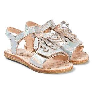 Easy Peasy Silver Metallic Frill Like Leather Sandals Lasten kengt 28 (UK 10)